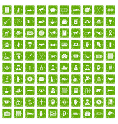 100 donation icons set grunge green vector image