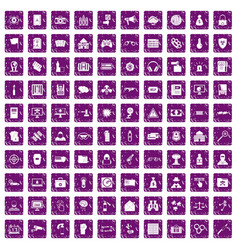 100 hacking icons set grunge purple vector image