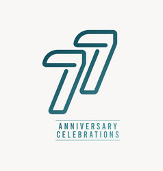 77 years anniversary celebration number template vector