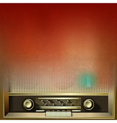 abstract brown grunge background with retro radio vector image
