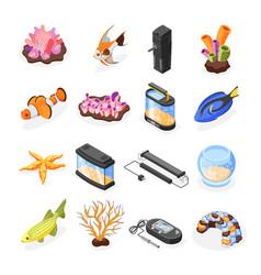Aquarium isometric icons set vector