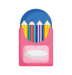back to school education pencils color in box vector image