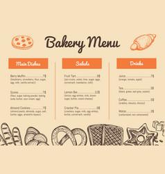 Bakery hand drawn restaurant menu template vector