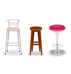 Bar chair stool set icons vector