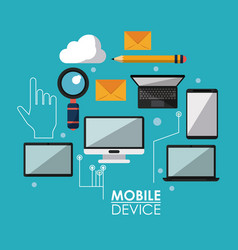 Blue poster with common mobile devices and icons vector