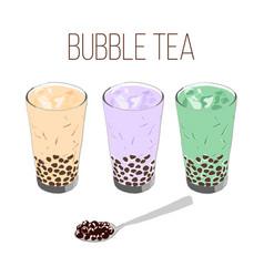 Boba tea bubble tea milk tea with black pearl vector
