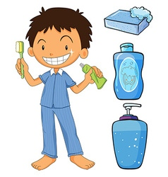 Boy in pajamas brushing teeth vector