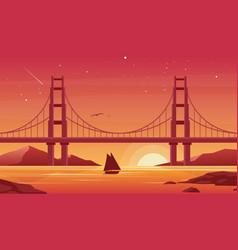 Bridge and boat at sunset flat vector