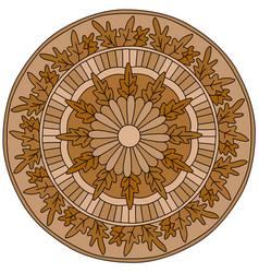 Bright mandala with oak leaves autumn decorative vector