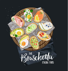 Bruschetta with different toppings served vector