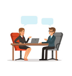 Business conversation man and woman at the table vector