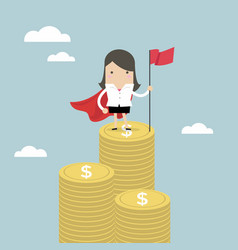 businesswoman with winners flag standing on money vector image