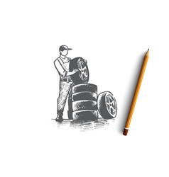car service concept hand drawn isolated vector image
