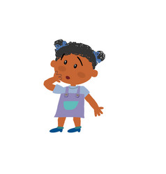 Cartoon character black girl in surprise vector