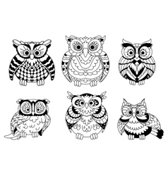 Cartoon colorless great horned owls birds vector image