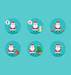 cartoon santa claus in flat style vector image