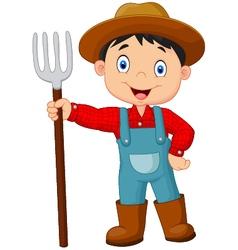 Cartoon young farmer holding rake vector image