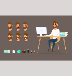 character design businessman working on desktop vector image