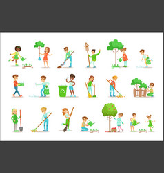 children helping in eco-friendly gardening vector image