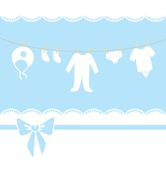Childrens clothes are drying on a rope vector image