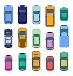 city car top view city traffic cars roof street vector image