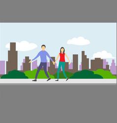 couple people walking in city street sidewalk vector image