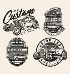 Custom cars vintage labels vector