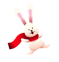 cute bunny in red scarf cartoon rabbit vector image