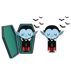 Cute cartoon tiny vampire dracula sleep in coffin vector