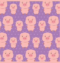 Cute pigs father and son characters pattern vector
