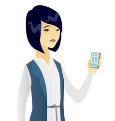 Disappointed asian business woman with cellphone vector