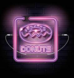 Donut sweet neon label vector