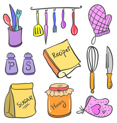 Doodle kitchen set object collection vector