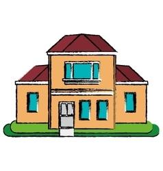 Drawing house traditional detailed modernn garden vector
