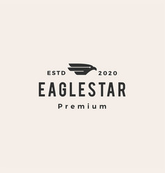 eagle falcon bird star hipster vintage logo icon vector image