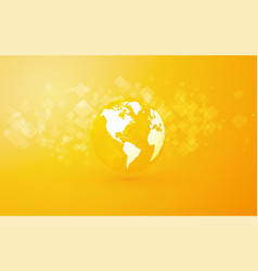 Earth globe with america abstract yellow vector