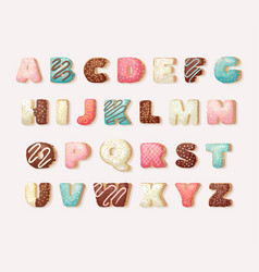 English sweet donut alphabet childrens alphabet vector