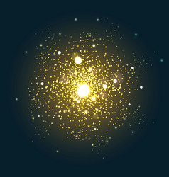 Explosive particles yellow flare vector