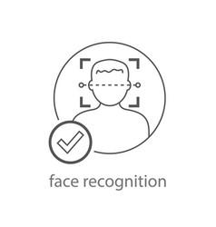 Face recognition icon facial vector