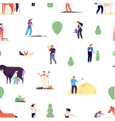 farmers pattern gardener team agriculture or vector image