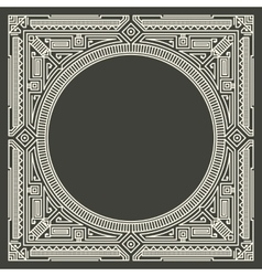 Floral and geometric monogram logo on dark vector