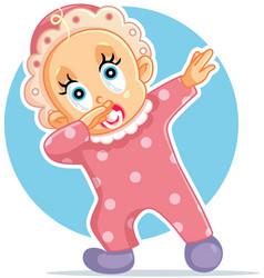 Funny baby girl dabbing cartoon vector