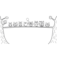 Funny owls sitting on a tree branch vector image