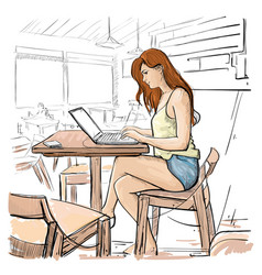Girl typing on laptop computer sketch young woman vector