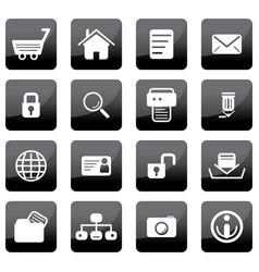Glossy black web icons vector
