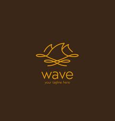 gold ocean nature wave logo monoline line vector image