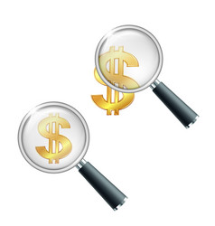 golden dollar symbol with two vertical lines vector image