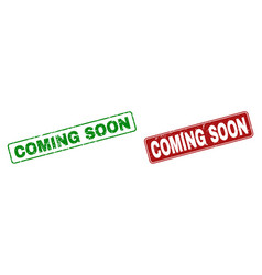 grunge coming soon rubber stamps with rounded vector image