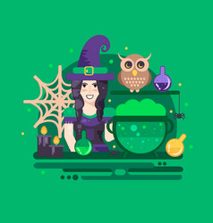 Halloween poster with witch vector