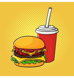 hand drawn pop art of hamburger and soda cup vector image